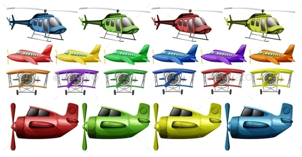 Different Kinds of Helicopter and Planes - Man-made Objects Objects
