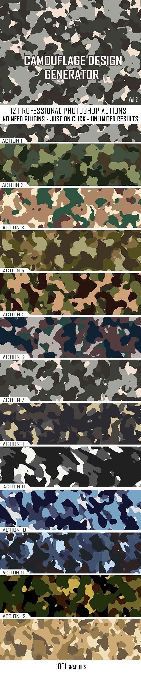 Camouflage Texture Generator - 12 PS Actions Vol.2 - Utilities Actions