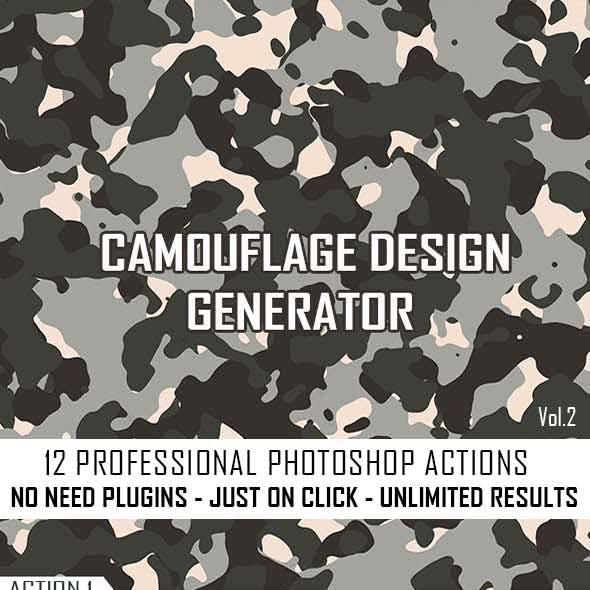 Camouflage Texture Generator - 12 PS Actions Vol 2 by