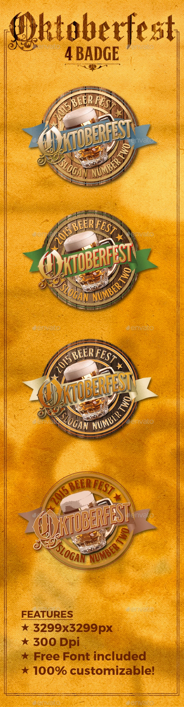 4 Oktoberfest Beer Badge Logo - Graphics