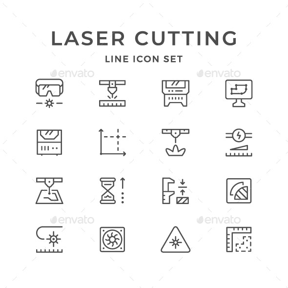 Set Line Icons of Laser Cutting - Man-made objects Objects