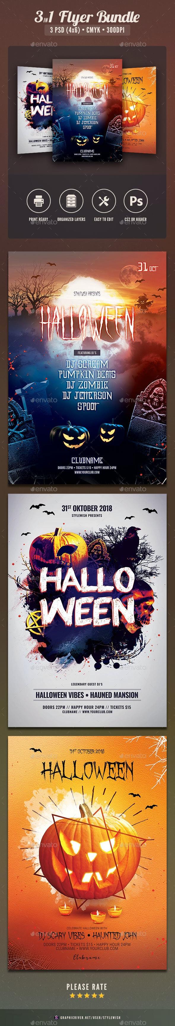 Halloween Flyer Bundle Vol.06 - Clubs & Parties Events