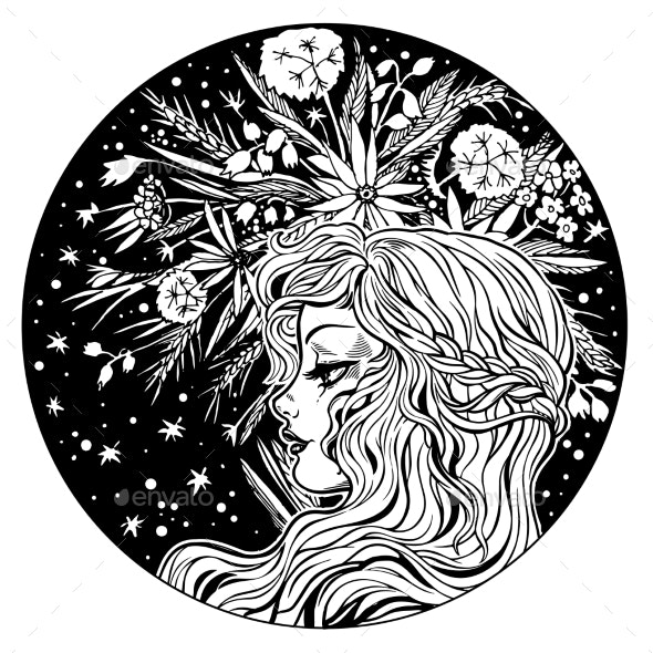 Circle Composition of a Girl with Flowers in Hair - People Characters