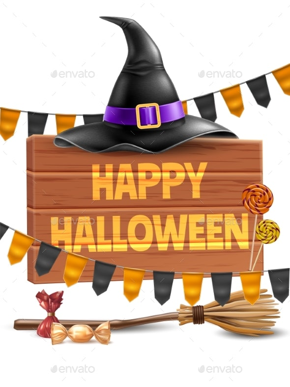 Vector Happy Halloween Poster Witch Hat and Broom - Halloween Seasons/Holidays