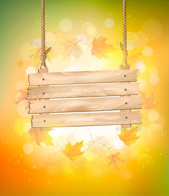 Autumn Background With Leaves and Wooden Sign - Seasons Nature