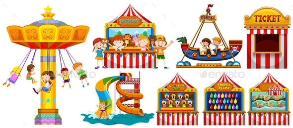 Children Playing in The Park and Many Games - Man-made Objects Objects