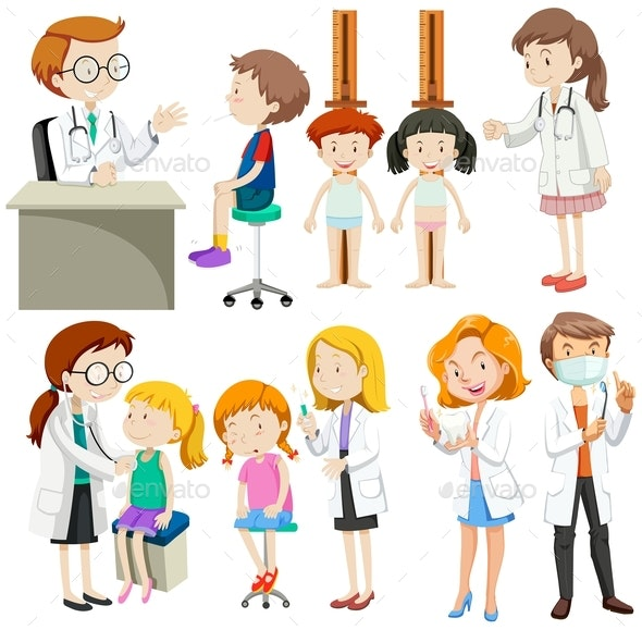 Boys and Girls Visiting Doctors - People Characters