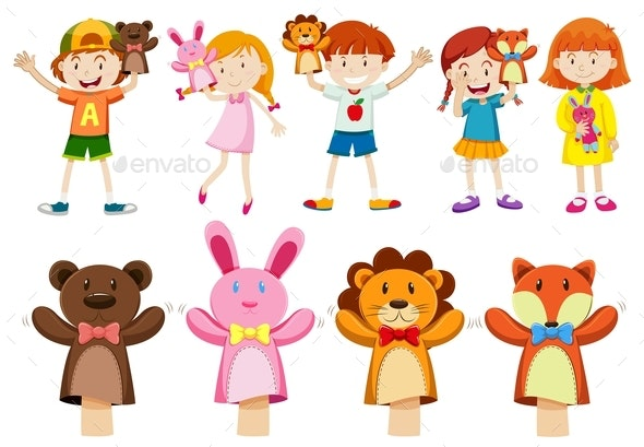 Boys and Girls With Hand Puppets - People Characters