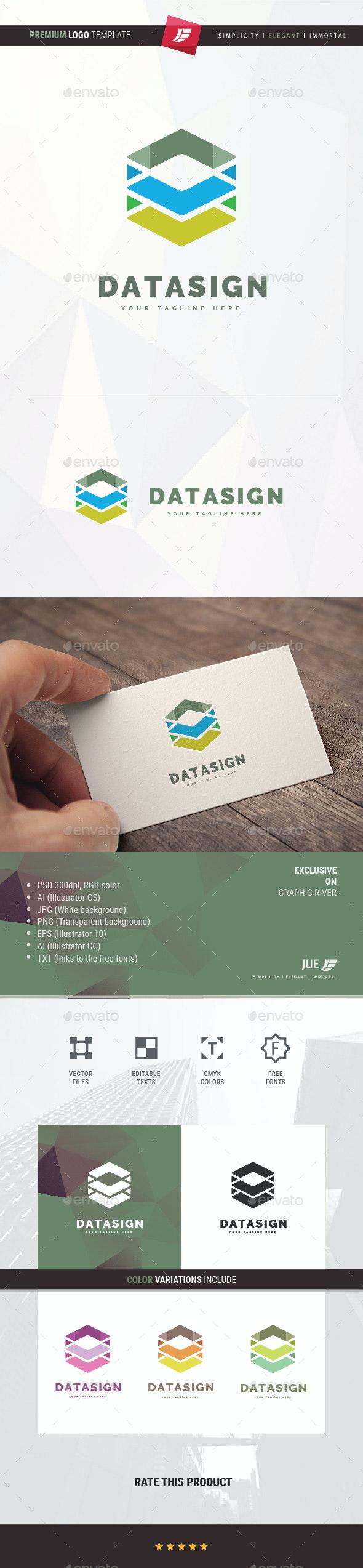 Data Sign Logo - 3d Abstract