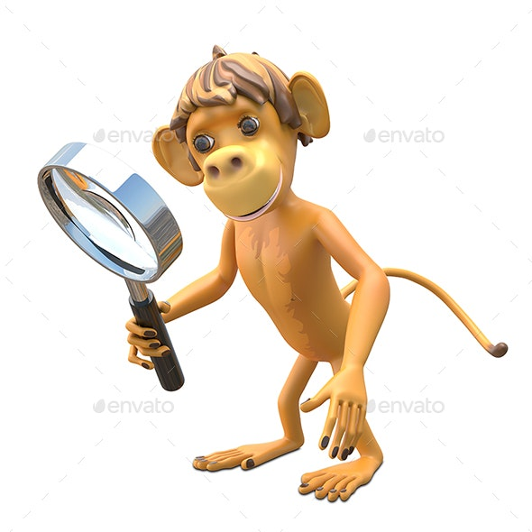 3D Illustration Monkey with Magnifier - Characters 3D Renders