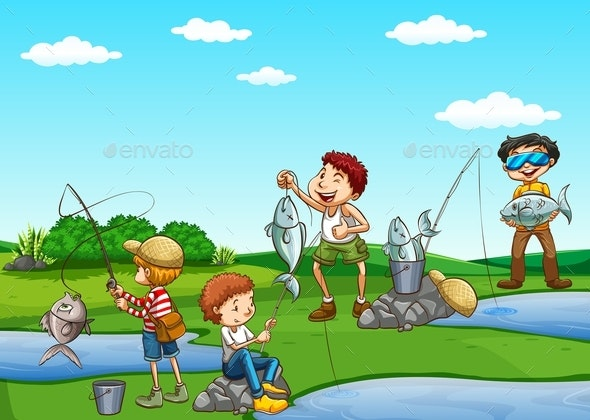 Group of Boys Fishing - People Characters