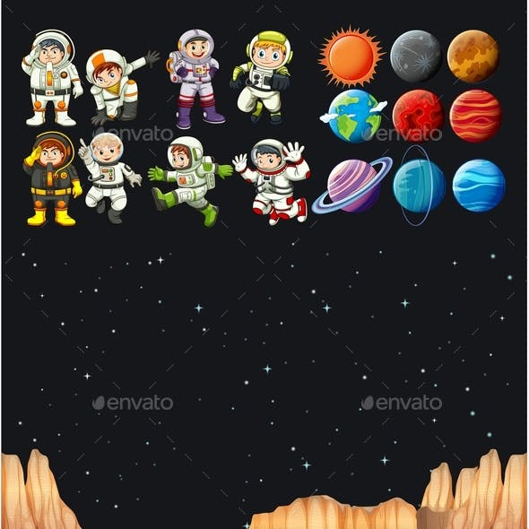 Astronauts and Different Planets in Universe