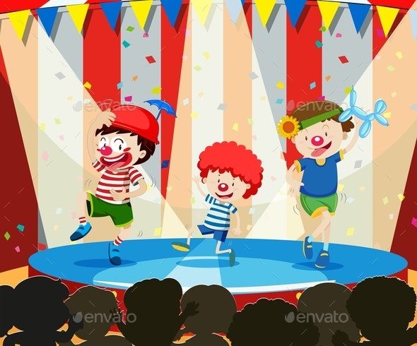 Three Clowns Perform on Stage - People Characters