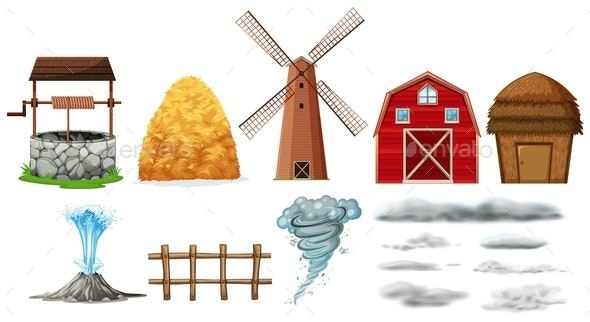 Set of Farm Elements and Weathers - Man-made Objects Objects