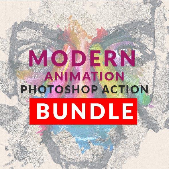 Modern Animation Photoshop Action Bundle