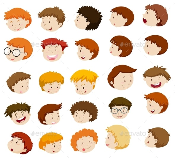 Boy Heads With Different Expressions - People Characters