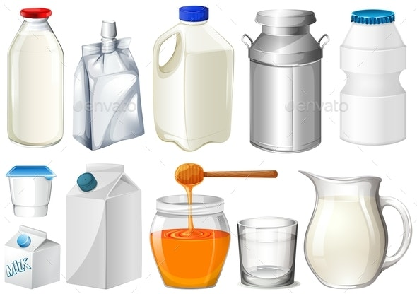 Set of Bottles and Jars - Food Objects