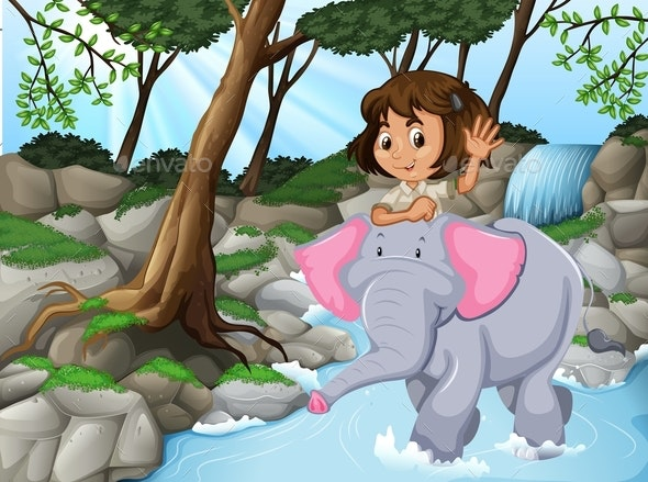 Girl Riding Elephant Jungle Scene - People Characters