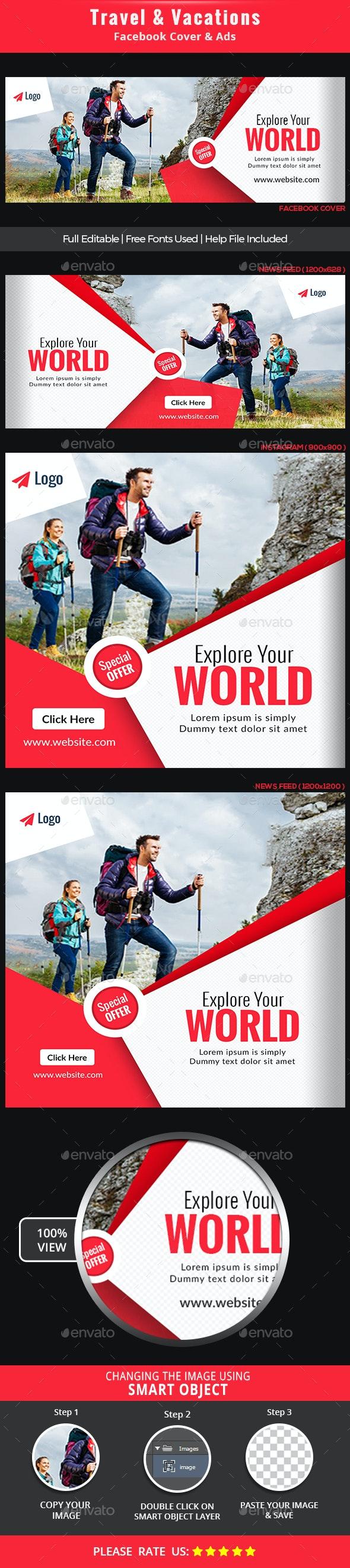 Travel Fb Cover & Ads - Social Media Web Elements