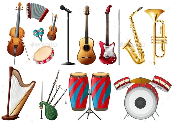 Different Types of Musical Instruments - Man-made Objects Objects