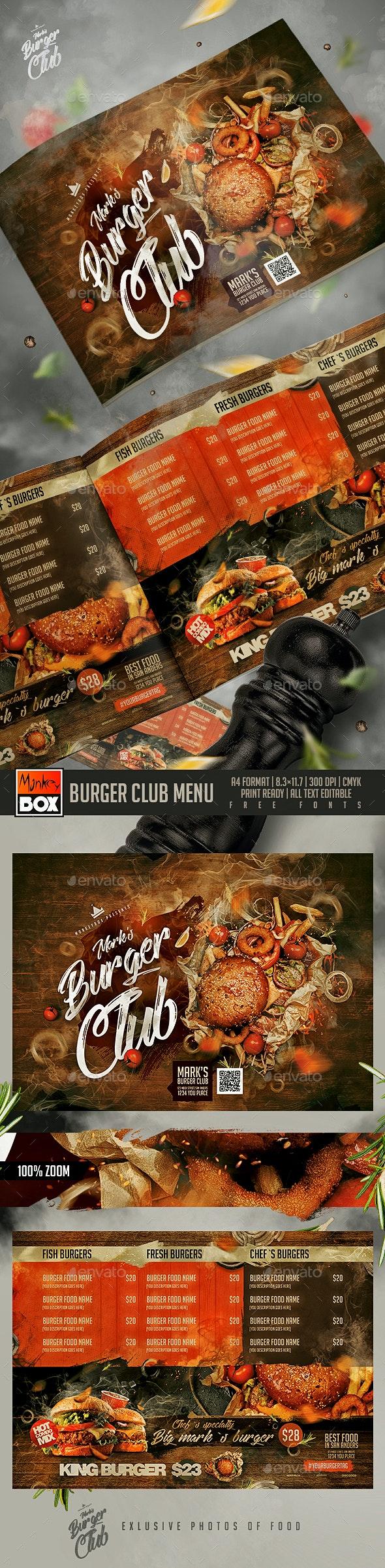 Burger Club Menu - Food Menus Print Templates
