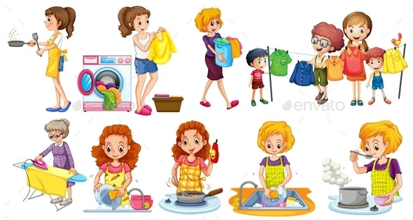 People Doing Different Houseworks - People Characters