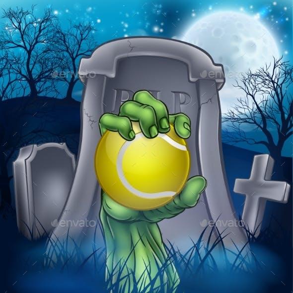 Tennis Zombie Halloween Graveyard Concept