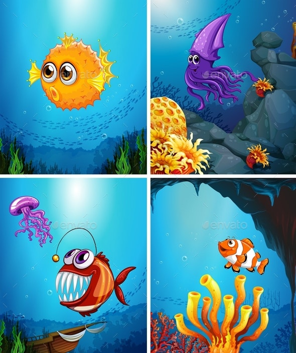 Sea Animals Swimming in The Ocean - Animals Characters