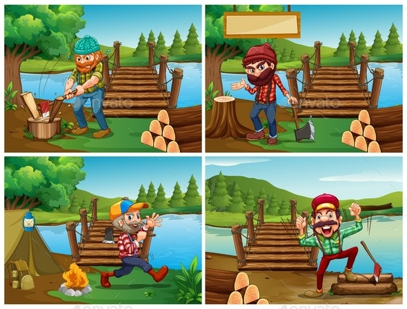 Four Scenes With Lumberjack and Woods - People Characters
