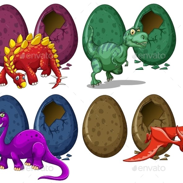 Dinosaurs Hatching Eggs on White Background