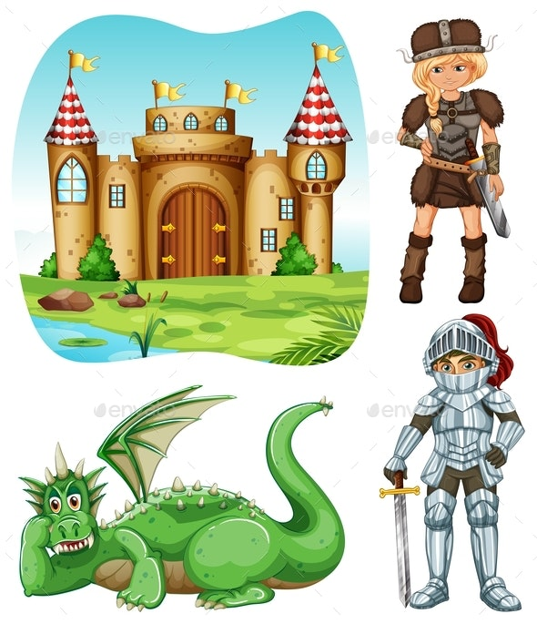 Medieval Set with Knight and Dragon - People Characters