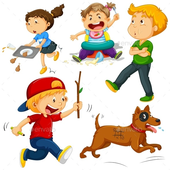 Kids in Different Actions - People Characters