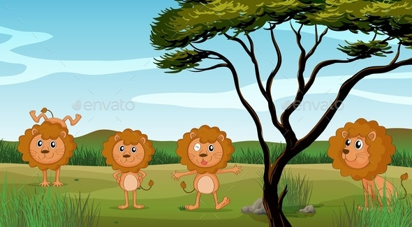 Four Lions in The Field - Animals Characters