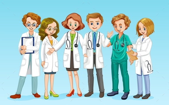 Doctor Team on Blue Background - People Characters