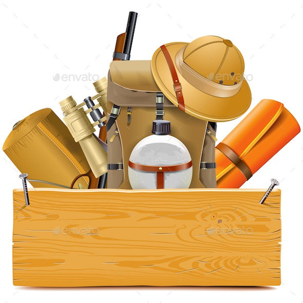Vector Wooden Board with Safari Accessories - Travel Conceptual
