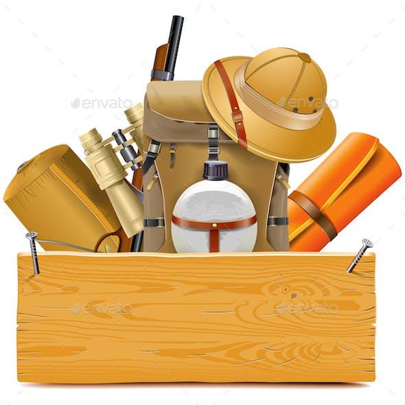 Vector Wooden Board with Safari Accessories