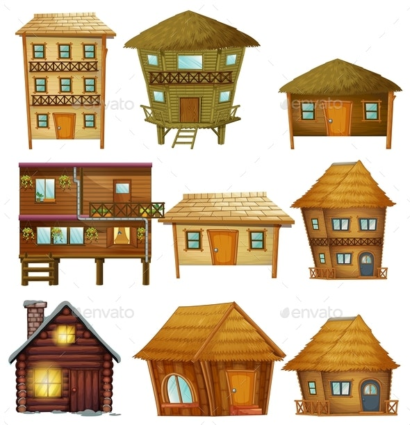 Different Designs of Wooden Cabins - Buildings Objects