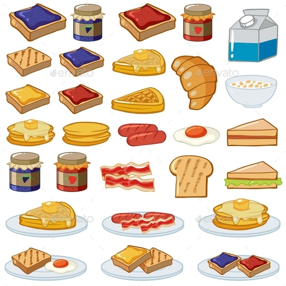 Breakfast Set With Different Kinds of Food - Food Objects