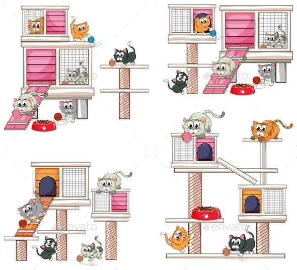 Cats and Different Designs of Cat House - Animals Characters