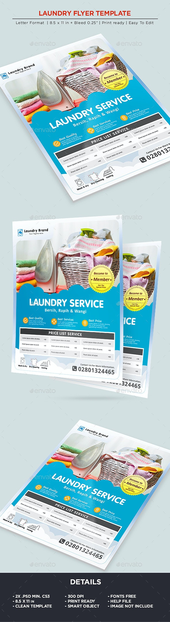 Laundry Services Flyer - Business Flyer - Corporate Flyers
