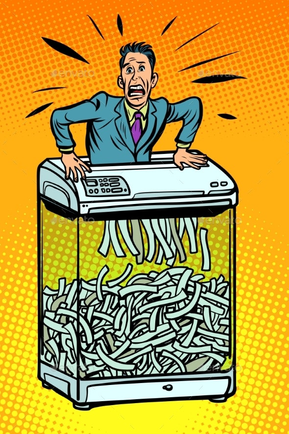Businessman in Paper Shredder - People Characters