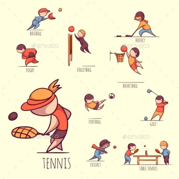 Vector Set of Sportsmens - Sports/Activity Conceptual