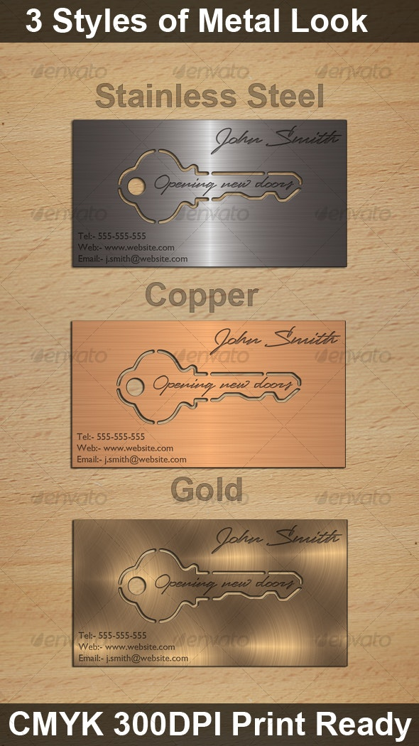 Metal Look Key Cutout Card, 3 Styles - Real Objects Business Cards