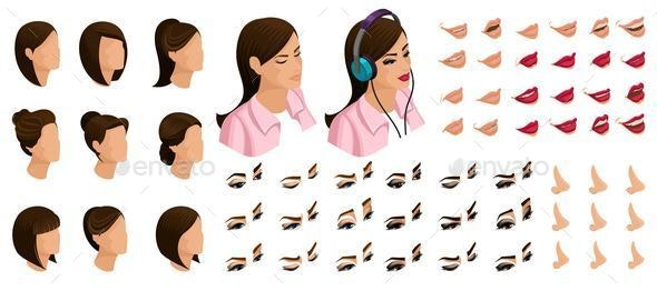 Isometrics Create Your Emotions for a Simple Girl - People Characters