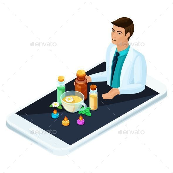 Isometric Concept Online Medicine, Products of Alternative Medicine - Health/Medicine Conceptual