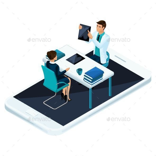 Isometric Concept of Online Consultation of a Qualified Doctor and Surgeon - Health/Medicine Conceptual