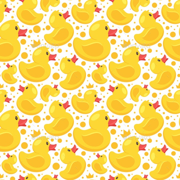 pattern with yellow rubber duck - Animals Characters