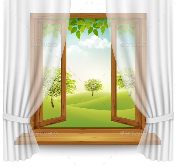 Nature Background with Wooden Window Frame and Curtains - Landscapes Nature