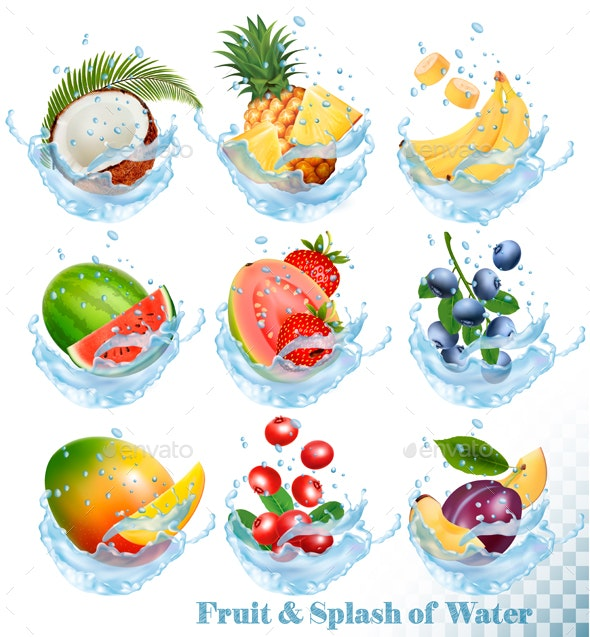 Collection of Fruit in Water Splash Icons - Food Objects
