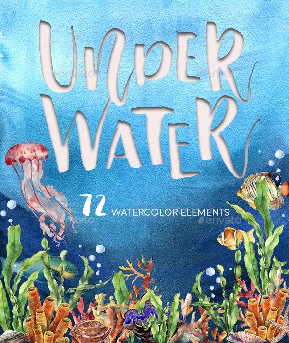 Underwater. Watercolor - Nature Backgrounds